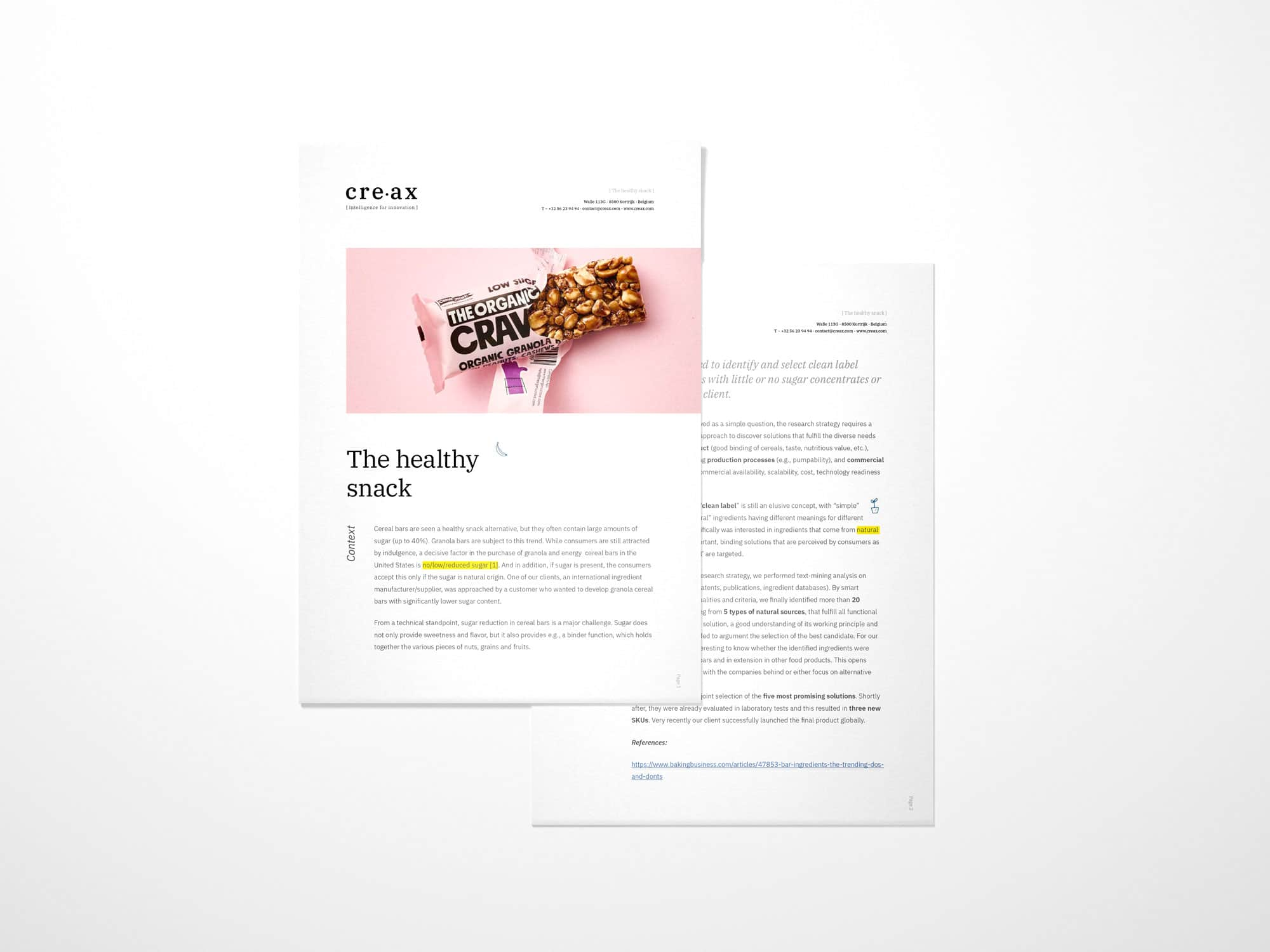 Download leaflet Healthy snack by Creax